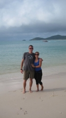 Wir am Whitehaven Beach auf Whitsunday Island